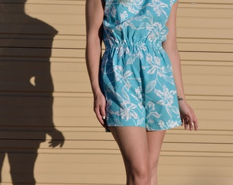 Tropical Jumper Romper Pacific Reflections 80's Hawaiian - 2 Colors Available