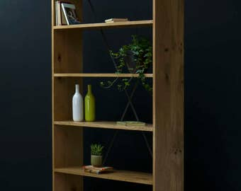 KONK! All Oak X Bookcase [Large] shelving INDUSTRIAL [Bespoke sizes!] Rustic Vintage Reclaimed