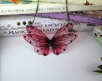 Red and Black Poppy Flower Fairy/Butterfly Wing Statement Necklace