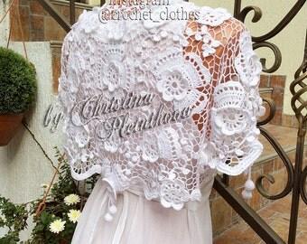 Wedding shrug bolero crochet Irish lace west cardigan shoulder cover plus size