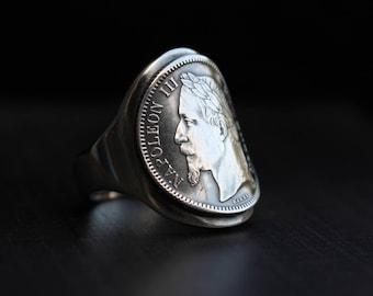 Chevalière en argent - Pièce de monnaie - Napoléon