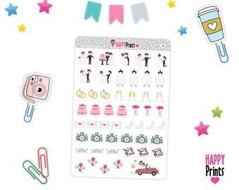 H 148) -- Wedding planning stickers, Planner Stickers