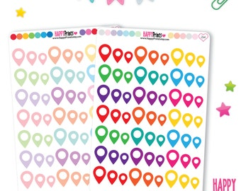 HP 264) -- Pinpoint Locators Stickers, Map Pin Stickers, Planner Stickers