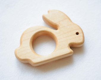 Wooden teether rabbit, Teething baby, Wooden ring, Educational toy, Wooden shape, Organic, Toddler activity, Natural eco friendly, Sensoric