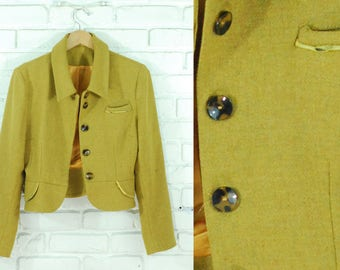 60s Mustard Yellow Structured Cropped Blazer Size Small