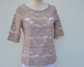 Clearance 30% taupe, taupe, short sleeve top blouse lace Blouse