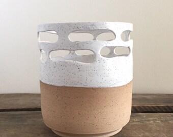 Ceramic Vase - Pencil Holder - Carved - White - Modern - Kitchen - Modern - Gift - Wedding
