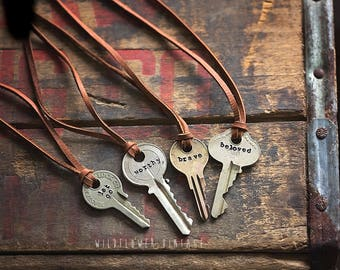 Hand Stamped Key Necklace on Leather Cord | Hand Stamped Typewriter Jewelry Vintage Repurposed Boho