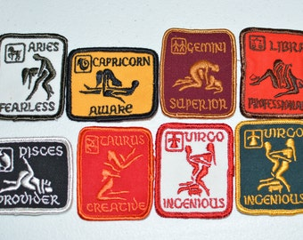 Sexual Position Zodiac Astrology Vintage Sew-on Embroidered Patch Aries Capricorn Gemini Libra Pisces Taurus Virgo Jacket Vest Patch f1