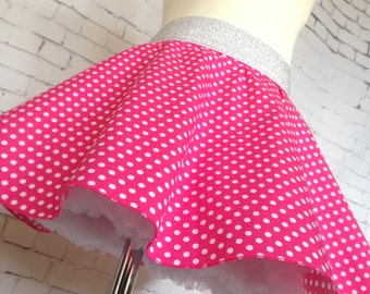 Size 2 Skater Skirt, Twirly Skirt, Girls Skirt, Pink and White Polka Dot.