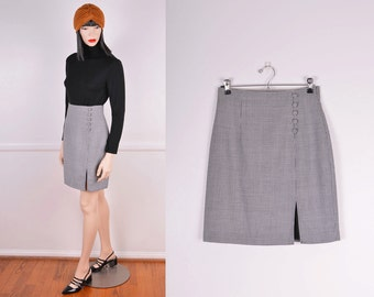 90s Black & White Houndstooth High Waisted Skirt/ Size: Small