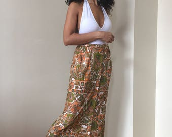 70s Orange and Olive Green Paisley Skirt