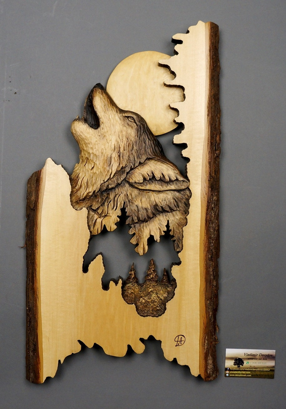 Wolf carved on wood carving with bark hand made gift wall