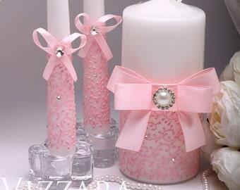 Unity candle set Wedding Pink HAND-Painted set Personalized unity candle Ceremony unity candles set Decor Wedding Unity Candle Wedding ideas