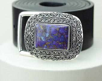 Rectangle Shaped Purple Copper Turquoise Vintage Filigree Antique 925 Fine S0LID Sterling Silver + Copper BELT Buckle T135