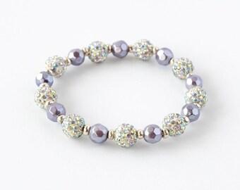 Purple, Silver, and Crystal encrusted elastic bracelet
