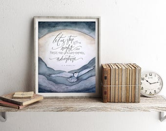 "Harry Potter Art Print, Watercolor Printable Dumbledore Quote ~ ""Let Us Step Into the Night"" ~ Digital Download 8x10 Hedwig Wall Art Decor"