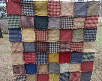 Rag Quilt, Patchwork Rag Quilt, Homespun Rag Quilt, Sofa Throw, Lap Blanket, Country Tablecloth, Primitive Rag Quilt, Picnic Blanket