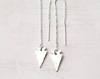 Silver Arrowhead Earrings, Threader Earrings, Sterling Silver, Long Dangle Earrings, Edgy, Modern, Hammered, Handmade, Gift for Her