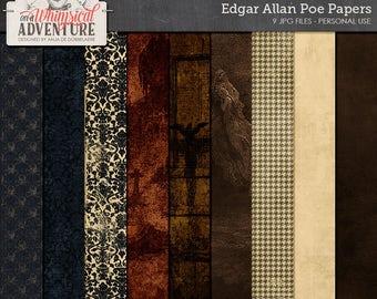 Gothic, Edgar Allan Poe papers, digital scrapbooking, art journaling, Halloween, digital download, damask, raven, graveyard, ghost, spooky