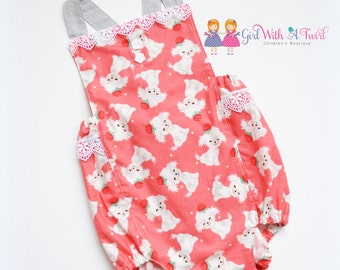 Baby Bubble Romper, Baby Girl Playsuit, Puppy Outfit, Puppy Romper, Spring Romper, Baby Girl Clothes, Toddler Romper, Baby Shower Gift