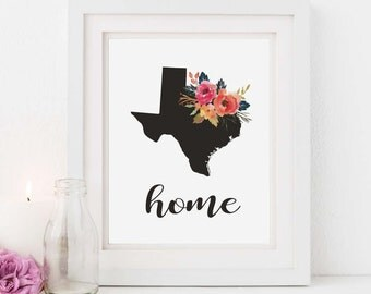 Texas - Printable - Home state silhoette - Flowers - Housewarming gift - Instant download -  Diy wall art - Decor - Gift ideas