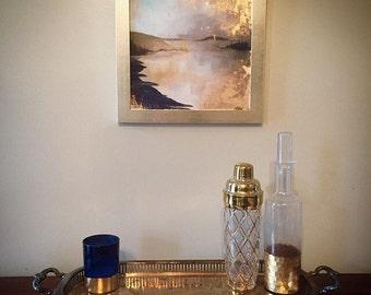Hand painted Gold Leaf Giclee print - Coastal, Lake, Island, Landscape Abstract Art - Custom Size
