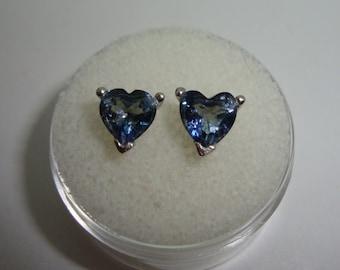 Iolite Heart Cut Stud Earrings-Gem Size 6 x 6 mm Set In Sterling Silver-HIGHLY PLEOCHROIC-Great Clarity & Sparkle-Water Sapphire-Cordierite