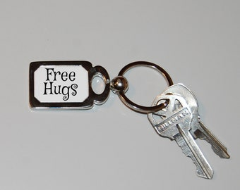 Free hugs keychain, I like hugs, peace, silly humor, hugs are good, funny keychain, novelty key ring, hug me, hugs for everyone, novelty