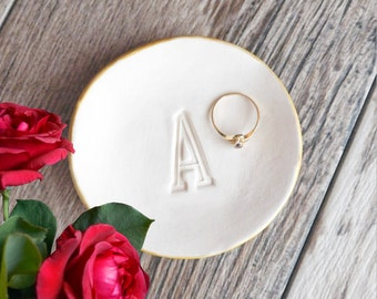 PERSONALIZED RING DISH large initial letter jewelry dish, bridesmaid gift, monogram ring plate, gold rim silver edge ring tray catchall gift