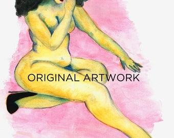 """Gifts for her - Watercolor - Artwork by JSwartz - Wall Decor - Fashion Drawing - """"Lady in Yellow"""""""