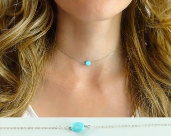 Turquoise choker - choker necklace - gold filled - sterling silver - rose gold filled - delicate necklace
