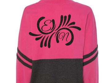 Pom Pom Jersey Back and Front Fashion Glitter Print