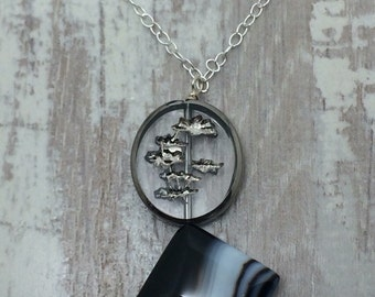 Black onyx silver pendant necklace