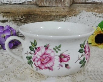 Decorative Chamber Pot/Bowl/English Country Cottage Decor/Farmhouse Decor/Pottery/Ceramic Pot/Flower/Rose/Pink/Portmeirion/England/Vintage