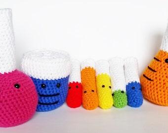 Amigurumi Crochet Complete Soft Science Chemistry Laboratory Glassware Set (8 pieces) Beaker, Erlenmeyer Flask, Test Tubes, Volumetric Flask