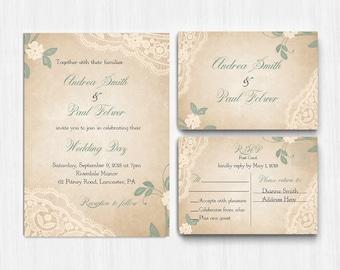 Sage green Wedding Invitation, Printed Green Lace wedding invite, ivory Wedding Invitation, Invite, sage wedding invitation, elegant wedding