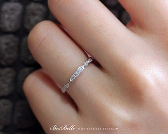 0.28 ct.tw Wedding Ring-Full Eternity Ring-Stackable Ring-Brilliant Cut Pave Stones-Wedding Ring-Solid Sterling Silver [3016]