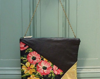 """English Garden"" bag in leather and embroidery vintage handmade."