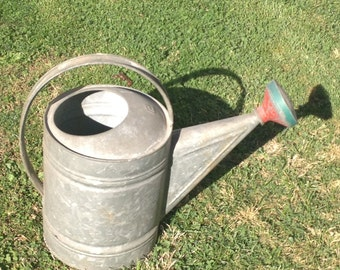 Vintage Watering Can LARGE Watering Can Metal Tin Sprinkle Sprout Included Metal Watering Can BIG Vintage Watering Can