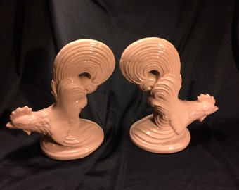 Ceramic Vintage 1950s Pink Roosters, Set of Two