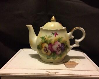 Vintage Musical Tea Pot, Porcelain, Hand painted