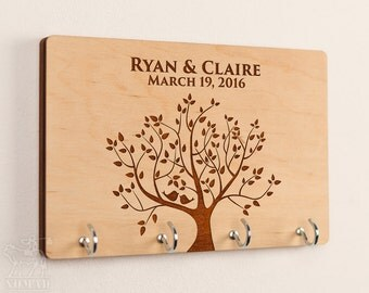 Key Rack, Key Hook, Wall Key Holder, key hanger, Wedding Gift, Gift for Couple, personalized key holder, Housewarming Gift, Anniversary Gift