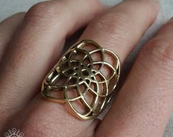 Seed Of Life Ring | Sacred Geometry Ring | Boho Ring |  Brass Ring | Yoga Jewelry | Spiritual Ring Gift