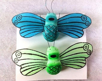 2 Fake Bees Artificial Blue Bee Green Scrapbooking Craft Supplies Embellishments Card Making