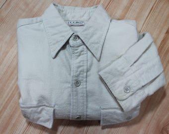 Vintage Men's LL Bean Beige Cotton Chamois Cloth Long-Sleeve Shirt Size 16 USA