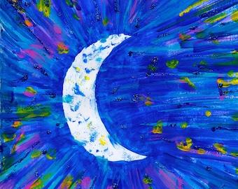 Moon Painting Print   Crescent Moon Art   Space Art   Lunar Art   Moon Phase Wall Art   Glitter Art Print   Celestial Art   Space Print