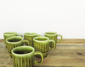 Six Vintage Green Drip Glazed Mugs. Super Retro Green Coffee Mugs for a Vintage Kitchen. Stackable 60's / 70's coffee mugs or tea mugs!