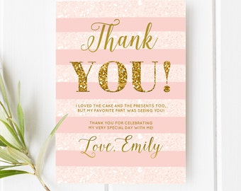 Girl Birthday Thank You Card First Birthday Thank You Card Pink And Gold Glitter Girl Birthday Party Printable Thank You Note Personalized