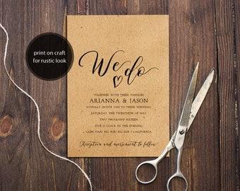 INSTANT DOWNLOAD PDF Template 5x7 We Do Invitation Wedding Invitation calligraphy Wedding Invites Rustic Wedding Printable Digital